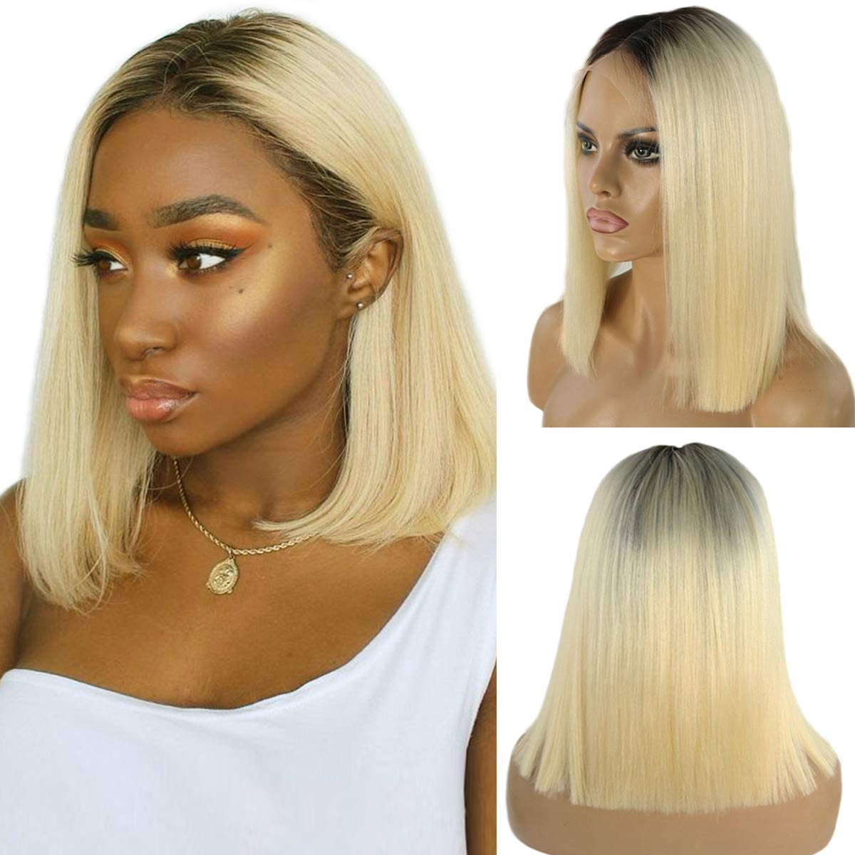Ombre Blonde Human Hair Bob Lace Front Wigs Brazilian Glueless Lace Frontal Wig 2 Tone 1B/613 Straight Remy Hair for Black Women Pre Plucked Bleached Knots Lace Wig 12''