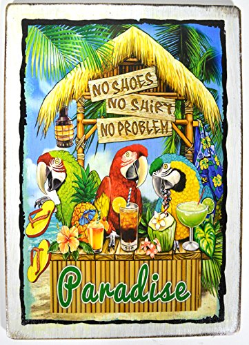 NO SHOES NO SHIRT NO PROBLEM Tiki Bar Sign Beautiful Beach Parrots Drinking Sunset Palm Tree Tropical Island Decor - Parrot Tiki Bar