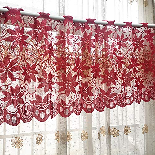 zsbdb5edvq Tulle Voile Window Curtain, Durable Semi Shading Flower Christmas Lace Sheer, Balcony Hotel Living Room Valance Blackout Drape Gauze Privacy Xmas Decor Door Blinds, 200x50cm Red