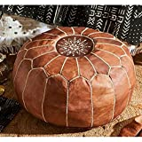 SHAWDIY Leather Moroccan Poufs Handmade Genuine Leather Round Seating Footstool Ottoman Pouffes Hassock With White Embroidered Stitching For Living Room Indoor, Marrakech Light Tan Brown,Unstuffed