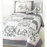 2 Piece Girls Pink Grey White Scottie Puppy Dog Theme Quilt Twin Set, Cute Girly Floral Patchwork Puppie Dogs Bedding, Fun Multi Flower Patch Work Animal Pup Themed Pattern, Pale Baby Light Gray