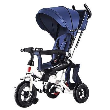 TH Triciclo Baby Carro De Bebe Triciclo para Niños 4 En 1 con Barra De Manija