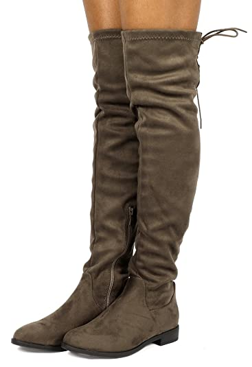 DREAM PAIRS Womens Uplace Khaki Suede Over The Knee Thigh High Winter Boots  Size 5 M