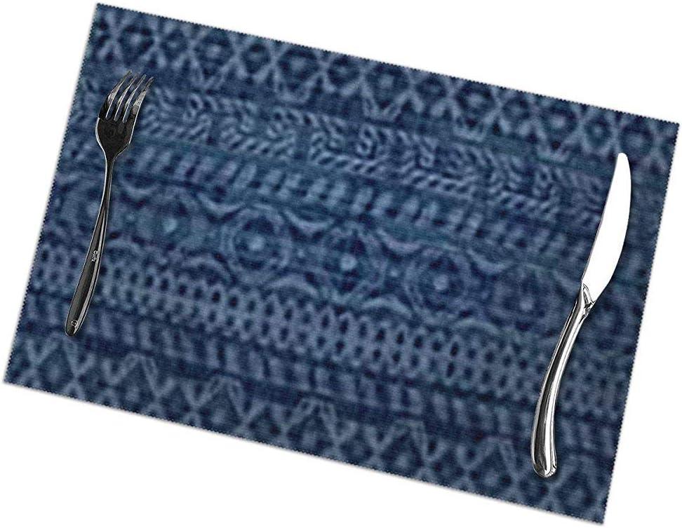 Juego de manteles individuales de 6 para mesa de comedor; Manteles individuales de vacaciones Azul africano Indigo étnico Trazos abstractos Jeans Azteca americano Boho BRhombus: Amazon.es: Hogar