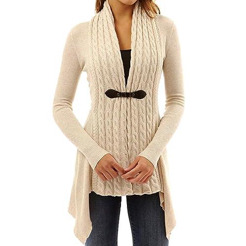 Mujer Tejer Cárdigan Suéter Parte – Señoras Abierto Top Frente Capa Largo Manga Desgastar Calentar Saltador Knitted Sweater Highdas