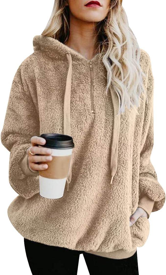 Kapuzenpullover Damen Teddy Fleece Pullover Zip Hoodie Pulli