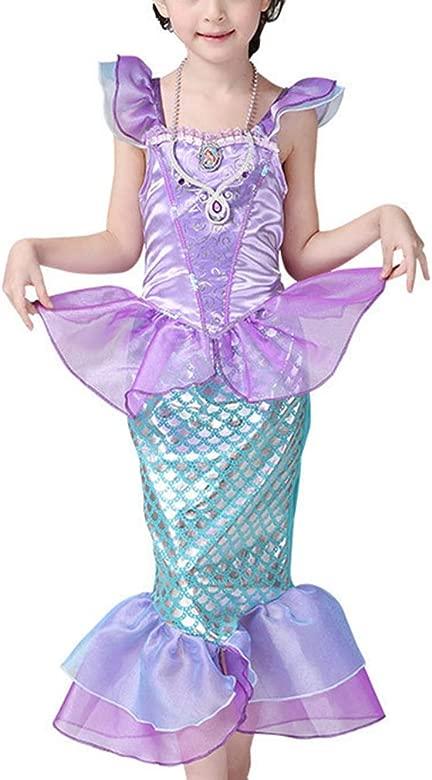 Disfraz de Sirena Infantil Traje para Niña,Vestido Lentejuelas de Princesa Brillante Larga Manga Cosplay Fiesta Halloween