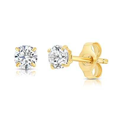 b590fb989a0a9 14k Yellow Gold Solitaire Round Cubic Zirconia CZ Stud Earrings with Gold  butterfly Pushbacks