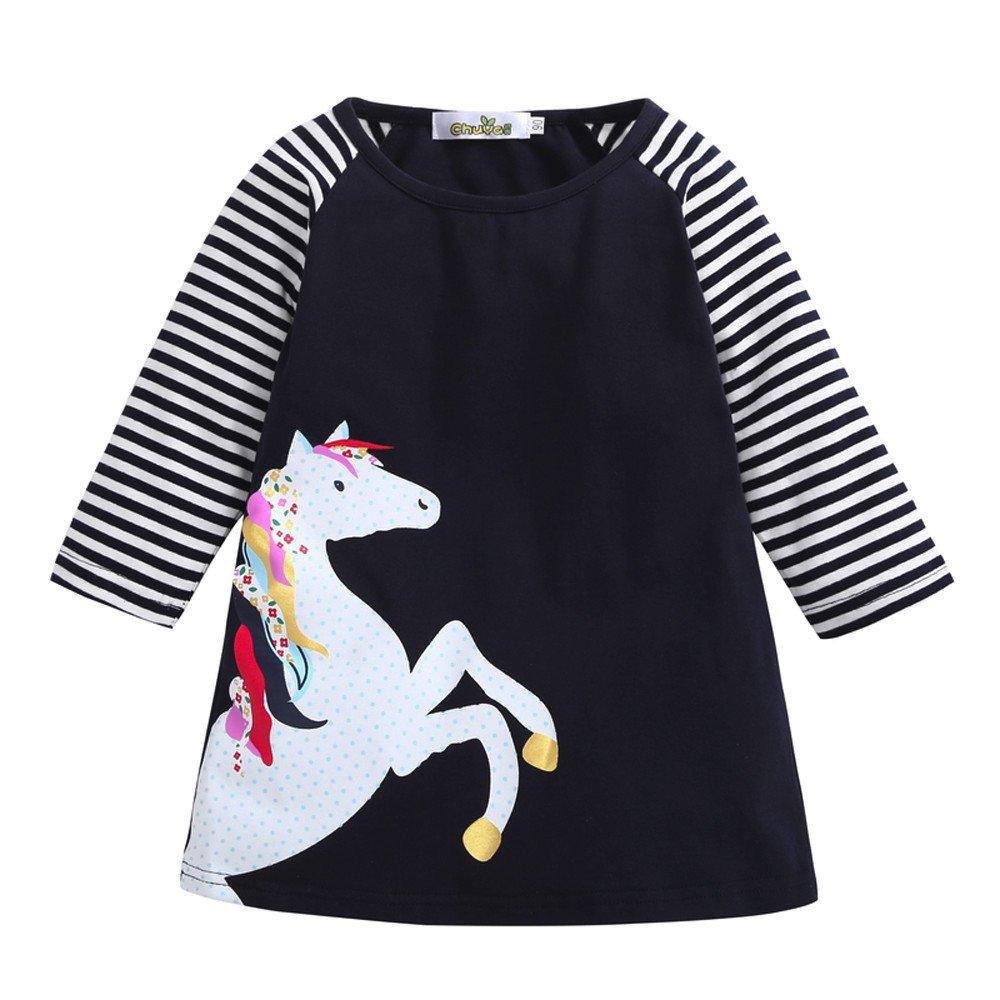 Baby Junge Kleidung Outfit, Honestyi Kleinkind Baby Mädchen Kind Frühling Kleidung Pferd Streifen Druck Prinzessin Party Kleid (Marine,80) Honestyi5040