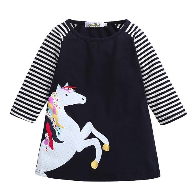 YanHoo Ropa para niña Vestido de Fiesta de la Princesa del Estampado de la Raya del Caballo de la niña del niño del bebé del niño Vestido de Pony para niños ...