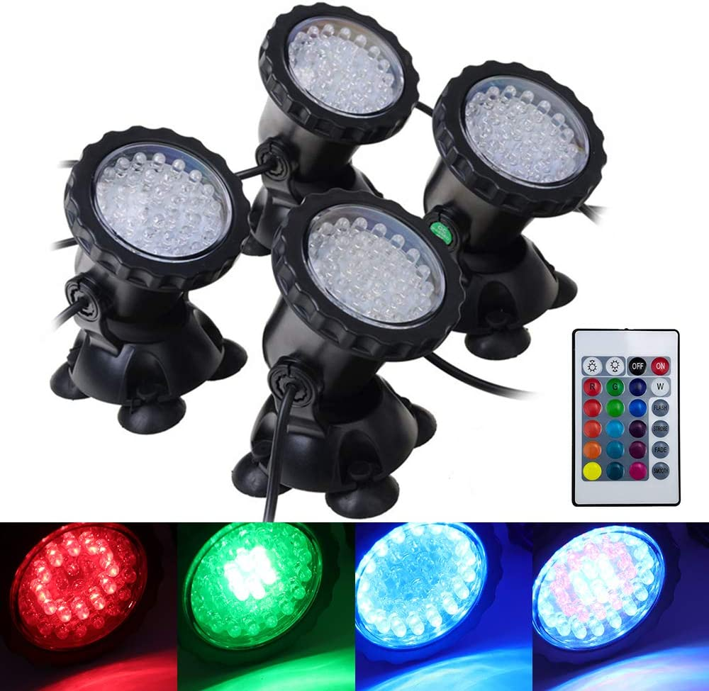 XUNATA LED Pond Light Waterproof IP68 Submersible Spotlight with 36 LED Color Changing Spot Light for Aquarium Garden Pond Pool Tank Fountain Waterfall Set of 1 RGB Lawn Light