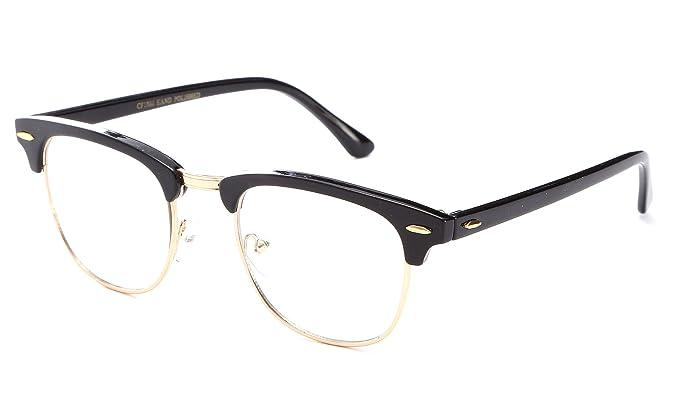 vintage inspired classic half frame clear lens glasses black gold