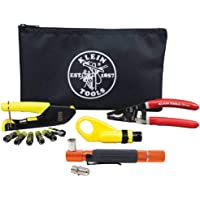 RG6/6Q Coaxial Cable Install Kit with Tester and F-Connectors, Includes Cutter, Radial Stripper, Crimper Klein Tools…