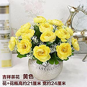 LighSCH Artificial Flowers Fake Bouquet Dining Table Plastic Camellia Yellow 72