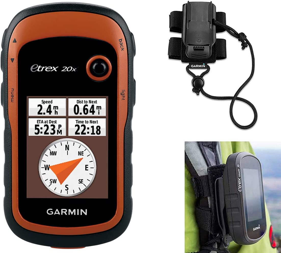 Garmin eTrex 20x Hiking GPS Bundle with Backpack Tether Mount GPS GLONASS Handheld, Paperless Geocaching, 65K Color Display