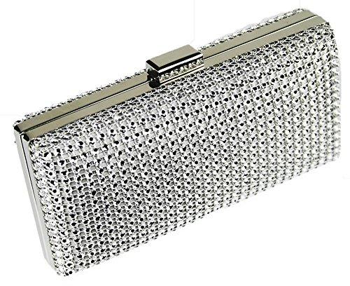 Sparkly Silver Womens Designer Ladies Diamante Handbag New Party Evening 1 Box Bag Metallic Design Clutch Wedding Look nq1gTaz