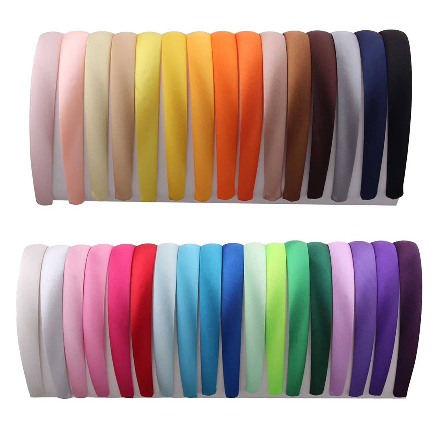 2cm Wide Satin Covered Alice Hair Band Headband( 33colors Each Color 1pcs Per Pack)