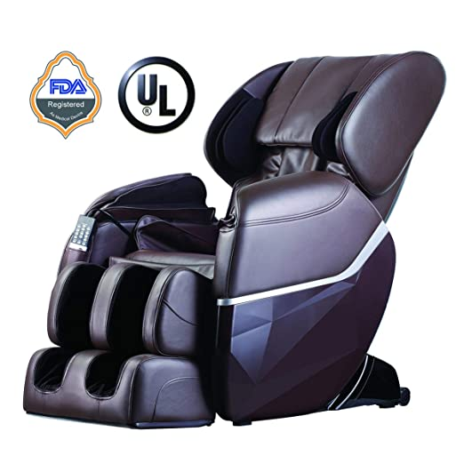 Zero Gravity Full Body Electric Shiatsu UL Approved Massage Chair Recliner with Built-in Heat Therapy and Foot Roller Air Massage System Stretch Vibrating for Home Office,Brown
