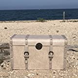 The Tribeca Steamer Trunk, Treasure Chest, Storage Box, Beige, Woven Faux Leather, Stitched Studded Straps, 22 L x 11 ¾ W x 13 H By Whole House Worlds