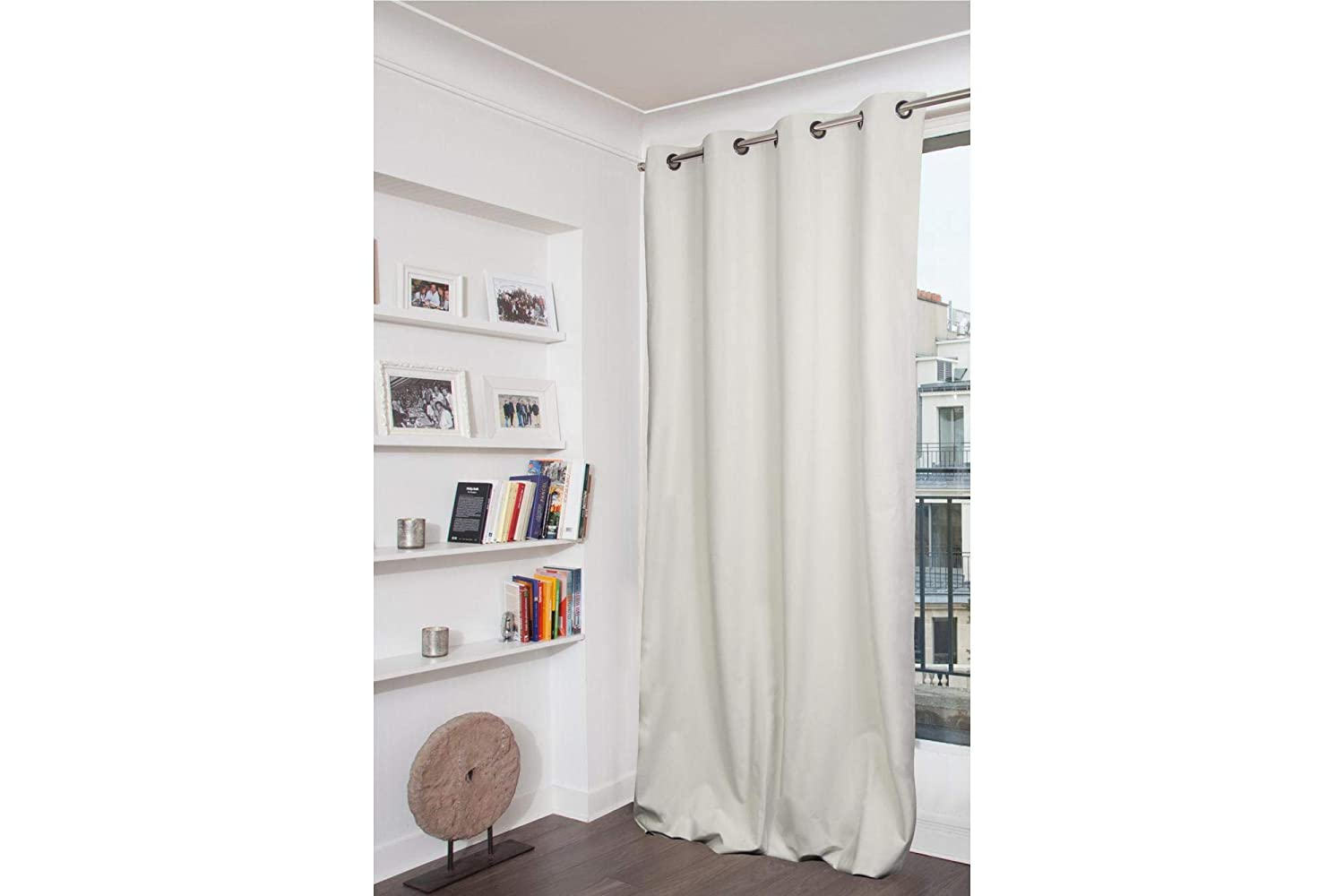 Ras Decor Linen Curtain panel-W24 X L80 Inches Off White Cotton Curtains for Living Room and Bedroom,Window Curtains Set of 2 Panels