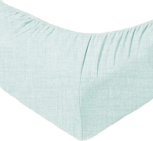 Zo!Home Lino - Sábana Bajera Ajustable, algodón, Verde Menta, 90 x ...