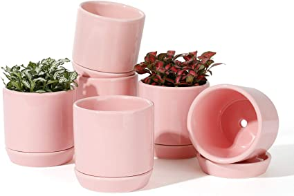 Set of 2 Light Pink POTEY Plant Flower Pot Ceramic Planters 3.9 Round Container Indoot Garden Glazed Container Colorful with Drainage Hole Saucer
