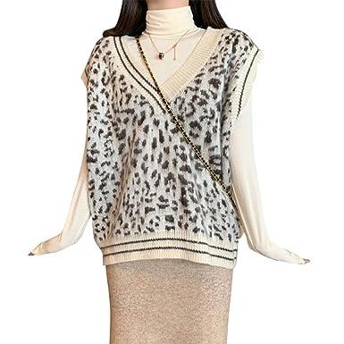 5033dc9d3a797a Inselfeld Damen Strick Pullunder V-Ausschnitt Ärmellos Leopardenmuster Beige  Sweater Tank Gestrickte Top Weste Camisole