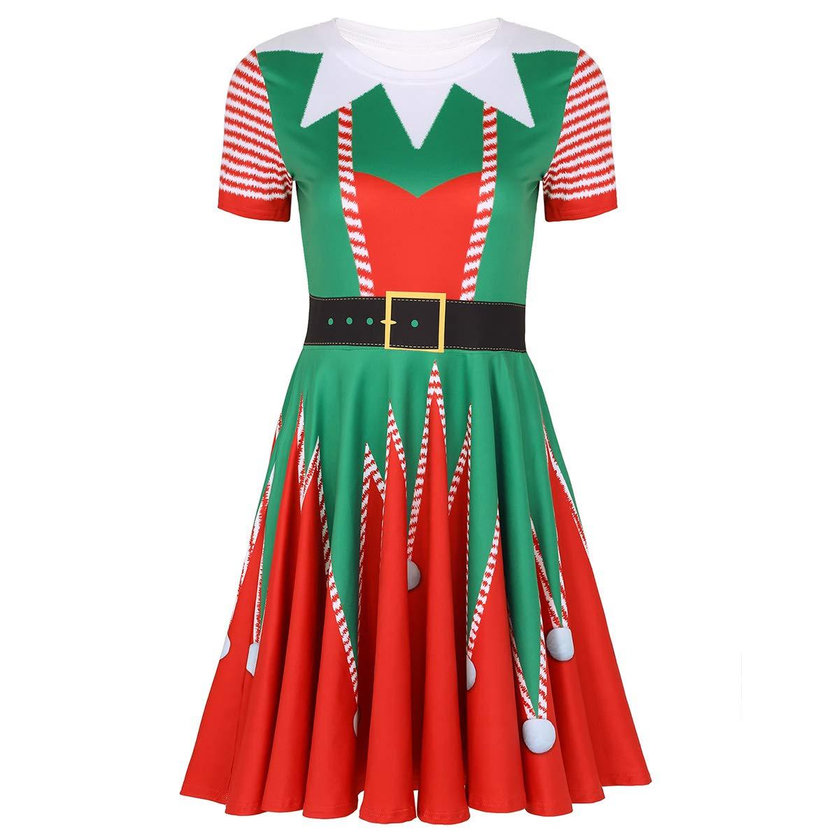 TiaoBug Femme D/éguisement Lutin No/ël Costume Elfe Robe M/ère No/ël Santa Imprim/é Robe /à Manche Courte Robe de F/ée No/ël Halloween F/ête Soir/ée S-XL