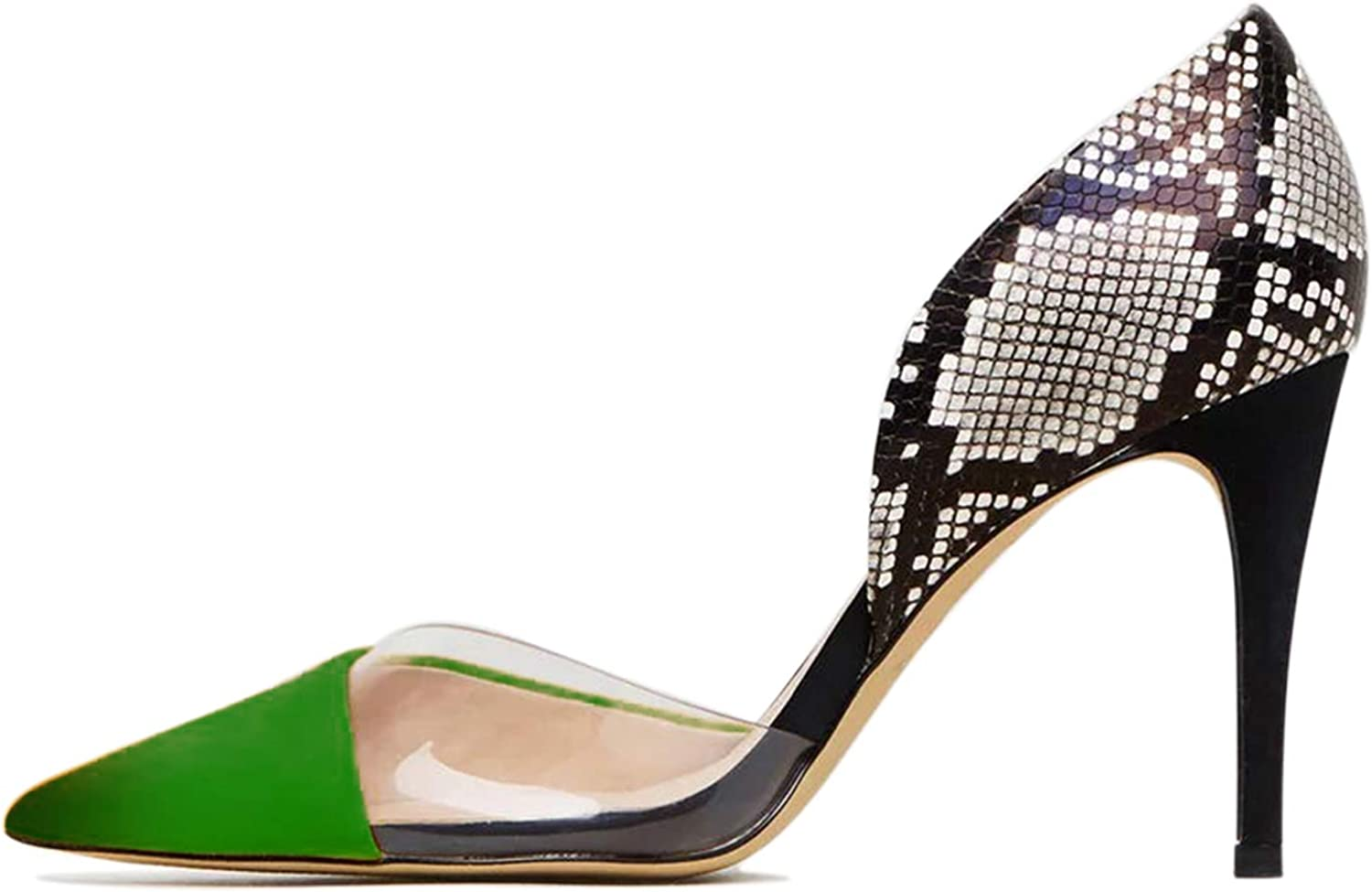 FOWT Women's D'Orsay Snake Print Heels Clear Stiletto Pointed Toe Pumps Slip On Dress Shoes for Party Wedding Office Sandals Multicolored 4-16 M US