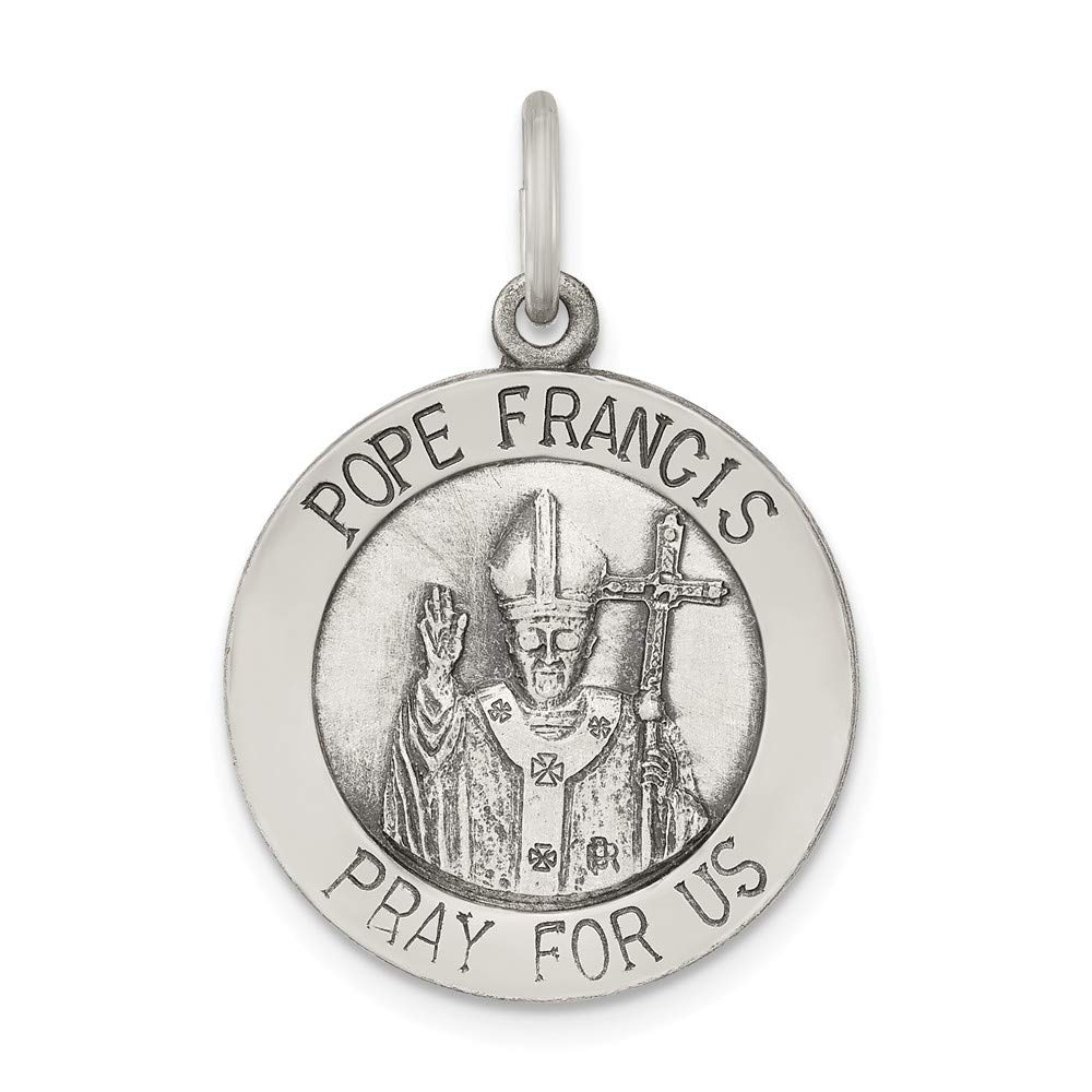 Jewelry Stores Network Sterling Silver Antiqued and Brushed Pope Francis Medal