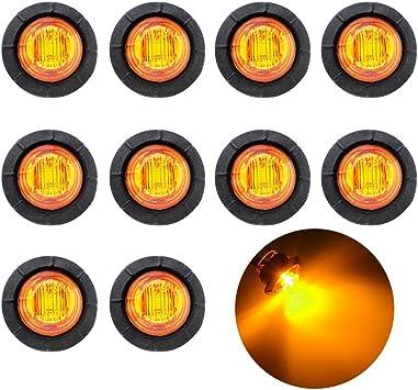 led Marker Lights led Side Marker Lights Side Marker Lights 10 Pcs TMH 3//4 Inch Mount Clear White Lens /& Amber LED Markers Trailer Marker Light led Trailer Marker Lights