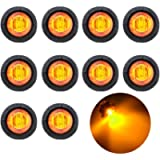TMH 10 Pcs 3/4 Inch Mount Amber LED Clearance Markers Bullet Marker Lights, Side Marker Lights, led Marker Lights, led…