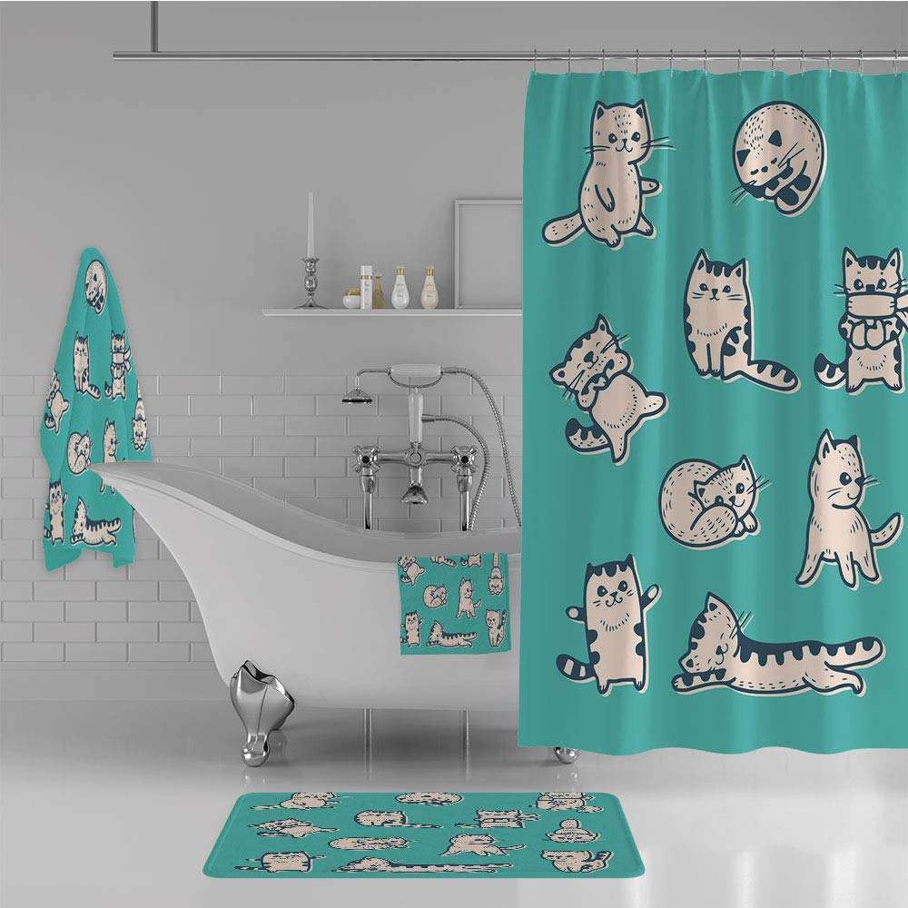 iPrint Bathroom 4 Piece Set Shower Curtain Floor mat Bath Towel 3D Print,Gestures Sleeping Playful Babyish Cat Animal,Fashion Personality Customization adds Color to Your Bathroom.