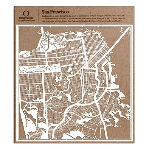San Francisco Paper Cut Map by O3 Design Studio White 12x12 inches Paper Art by O3 Design Studio