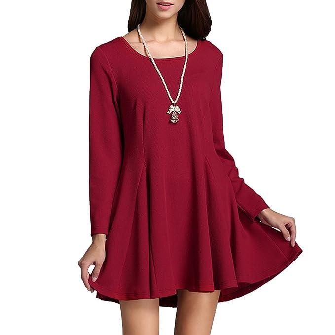 Dehutin Color Sólido Vestido Largo Una Palabra Falda Tejido De Punto Manga Larga Algodón Vestidos Para Mujeres: Amazon.es: Ropa y accesorios