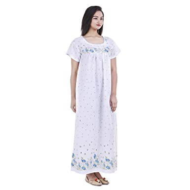 f8c43f31d Image Unavailable. Image not available for. Color  Floral Cotton Maxi Dress  Short Sleeves Nightwear Comfy Evening Holiday Night Gown ...