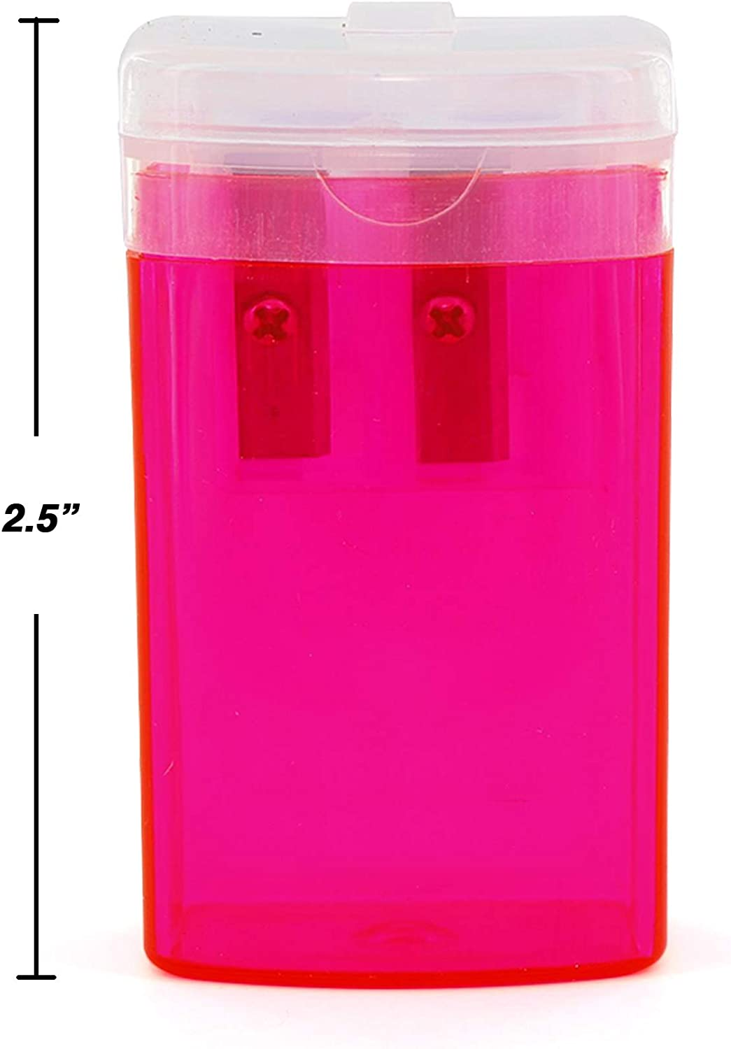Pink /& Black Great for School Home /& Office 12 Pack Green Emraw Dual Hole Manual Pencil Sharpener with Lid /& Rectangular Receptacle to Catch Shavings for Regular /& Oversize Pencils//Crayons in Blue
