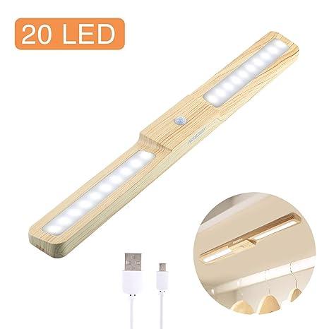 Luz Nocturna, HOSDEY Lámpara del Armario 20 LED, Luz del Sensor Movimiento Recargable Magnética