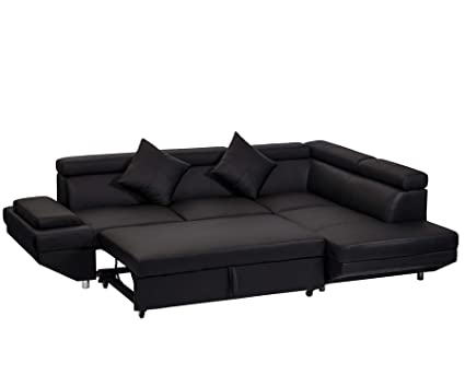 Amazon.com: BestMassage Corner Sofas Sets for Living Room, Leather ...