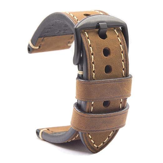 6df6add3a8a8 Correa Reloj Hebilla Negra Cuero Crazy Horse Pulsera los Hombres Reemplazo  Clásico de la Vendimia Panerai Aplicable Todo Tipo Deportivo 18mm Marrón   ...
