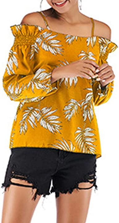 QiXuan Camisa De Gasa con Hombros Descubiertos Y Estampado De Hojas para Mujer: Amazon.es: Ropa y accesorios