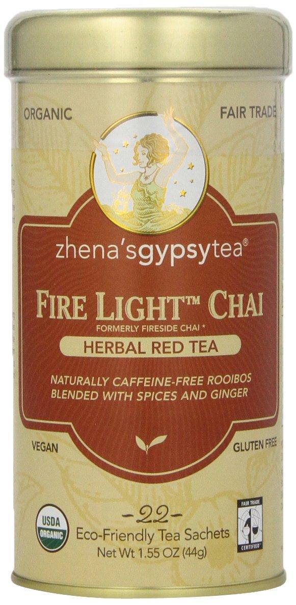 Zhena's Gypsy Tea,Herbal Red Tea Fire Light Chai, 22 Count Tea Sachets Net Wt 1.55 Ounce