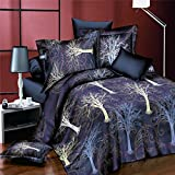 wiwanshop 4pcs Suit 3D The Tree Of Life Reactive Dyeing Polyester Fiber Bedding Sets Queen