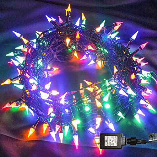 Twinkle Star Outdoor String Lights Christmas Lights 200 LED 66ft Mini Green Wire Fairy Lights with 8 Lighting Modes, Christmas Tree Garden Wreath Party Wedding Indoor Decorations, Multicolor (Twinkle Christmas Lights Led)