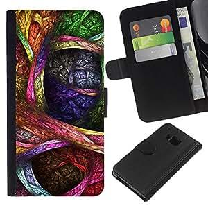 HTC One M7 Modelo colorido cuero carpeta tirón caso cubierta piel Holster Funda protección - Colorful Drawing Ink Art Pattern