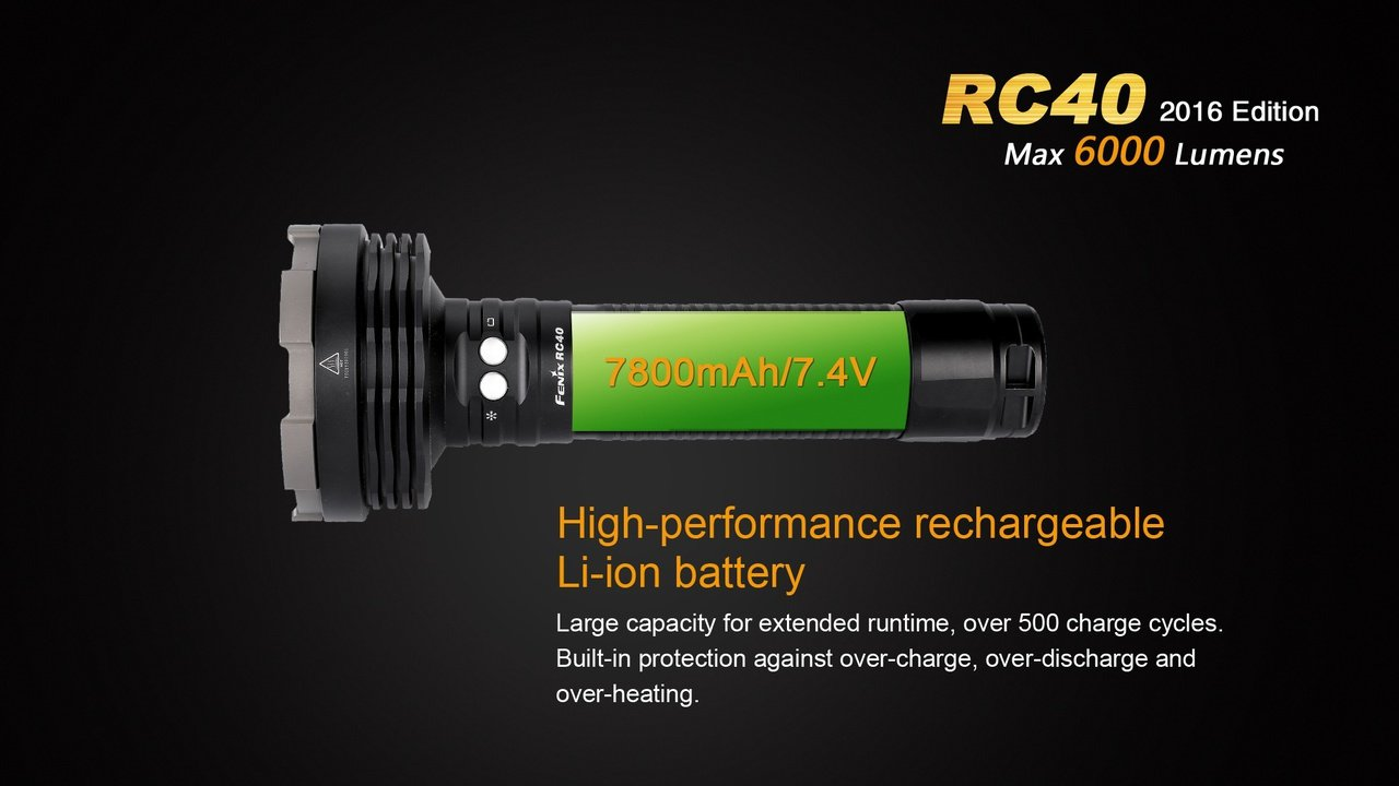 Fenix RC40 2016 Rechargeable LED Flashlight 6000 Lumens with 7800mAh rechargeable battery, Home/Car charger and 30 Lumen AAA Keychain Light by Fenix (Image #5)