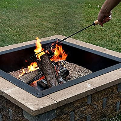 Sunnydaze Steel Fire Pit Poker Stick with Wood Handle, Outdoor Camping Fireplace Tool, 32 Inch Long