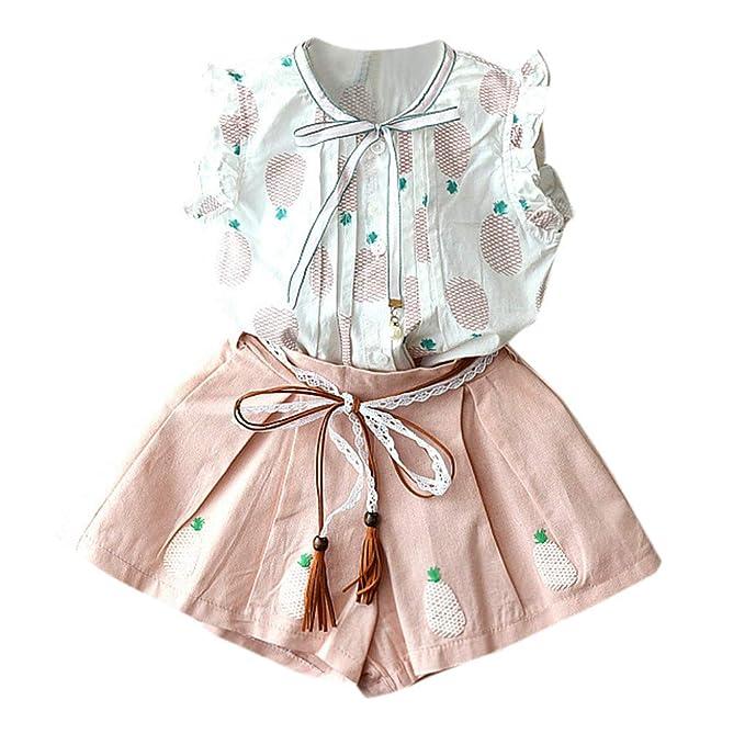 Conjuntos para Niñas 2019 Primavera Verano PAOLIAN Camisetas Sin Manga + Pantalone Corto Casual Fiestas Ropa Tirantes para Bebe Niñas Estampado ...