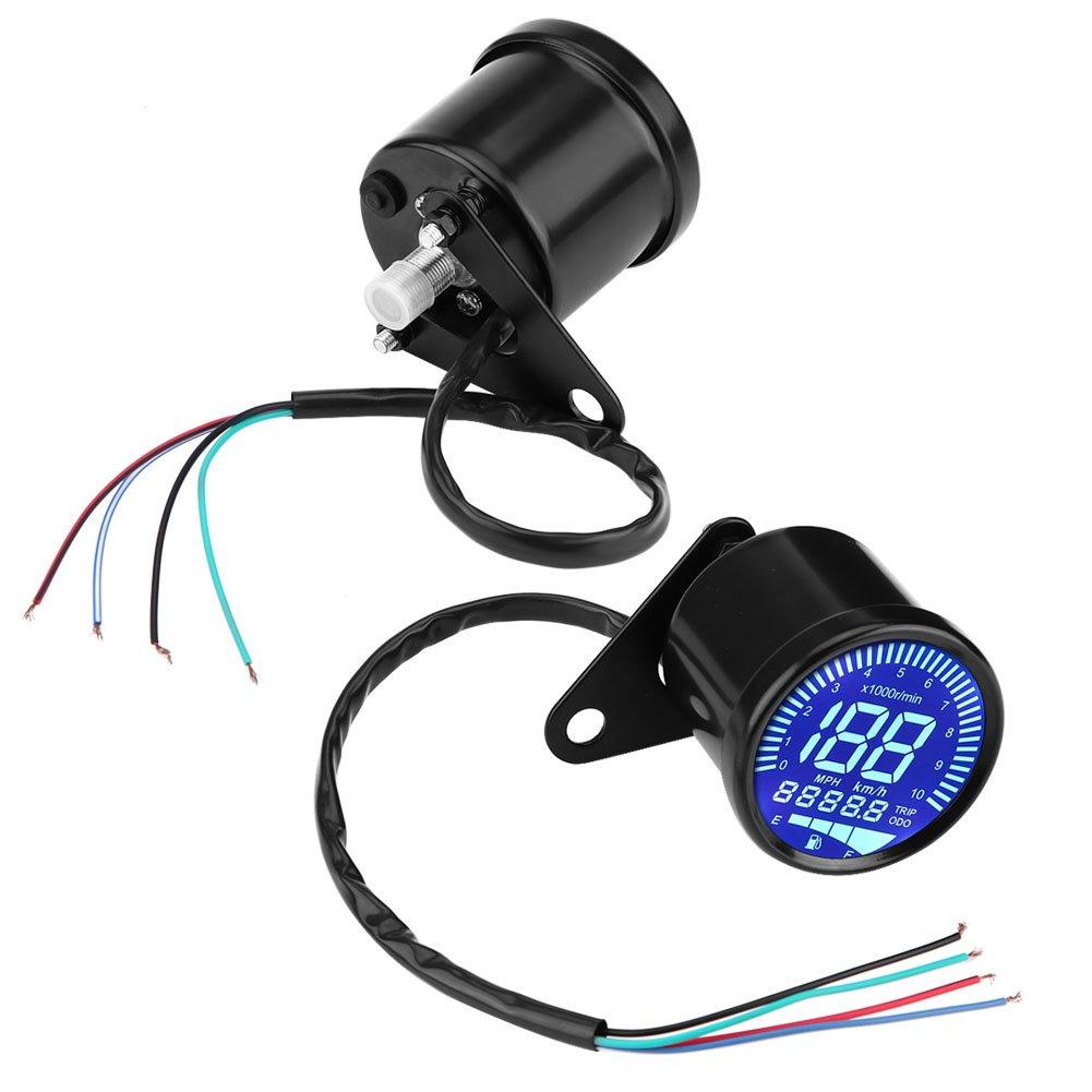 Motorrad Tachometer Universal Schwarz Motorrad LED Digital Tachometer Drehzahlmesser /Ölstandsanzeige