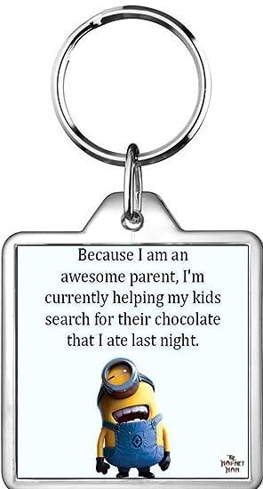 Impresionante Padre mamá Papá ayuda niño Chocolate Llavero ...
